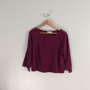 Anthropologie Cropped Sweater Purple Tassels